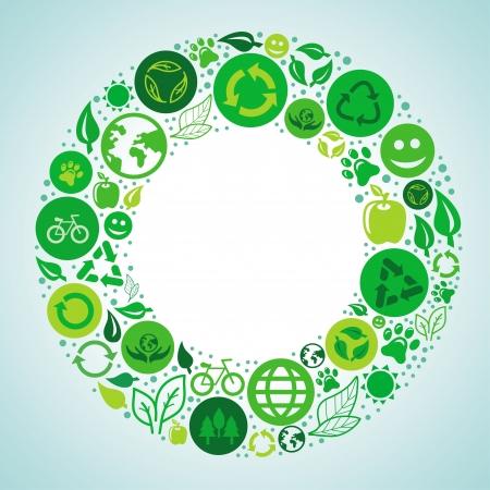 ecologie concept - rond ontwerp element gemaakt van pictogrammen en symbolen Stock Illustratie