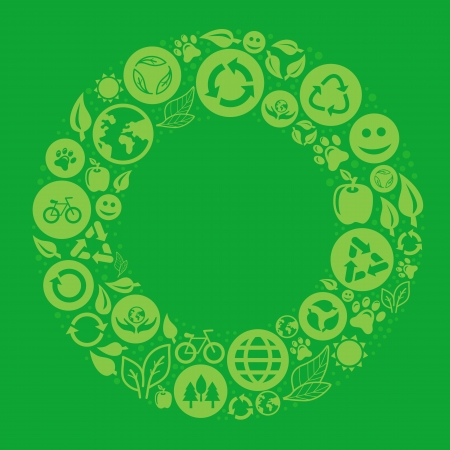 ecology concept - round design element made from icons and signs Vector