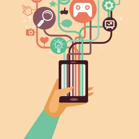 smartphone hand: hand and mobile phone with internet icons - illustration in flat retro style