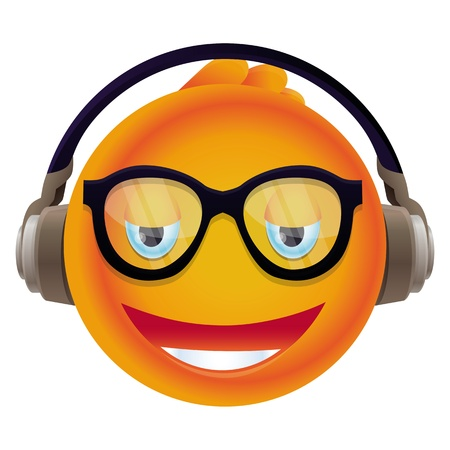funny yellow monster with round head - listening to music Stock Vector - 20101505