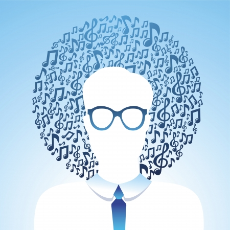 Vector musical concept - abstract man and musical notes Vector
