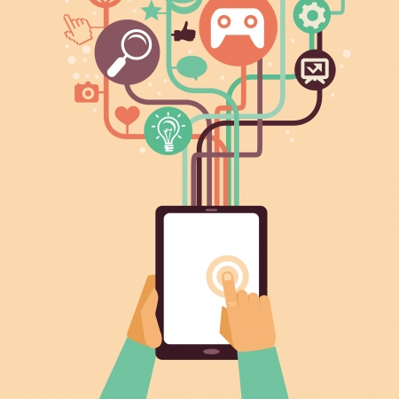 tablet pc in hand: hands and tablet pc with internet icons - illustration in flat retro style