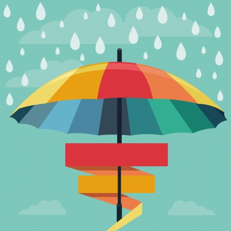 rain cartoon: umbrella and rain drops in rainbow colors - abstract weather concept