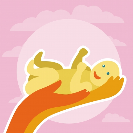 newborn greeting card - with hands holding baby Stock Vector - 20101522