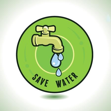 Ökologie-Konzept - Wasser sparen - Tap-Symbol und Wassertropfen