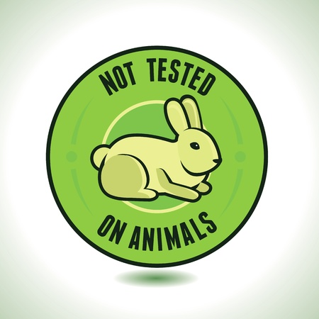 eco notice: not tested on animals label - round badge for package