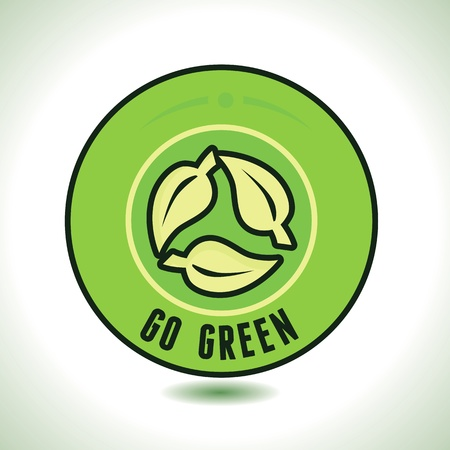 round label with recycle  symbol and text go green Stock Vector - 20101527
