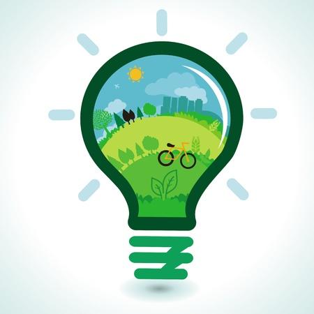 green light bulb: ecology concept - abstract green landscape inside light bulb Illustration