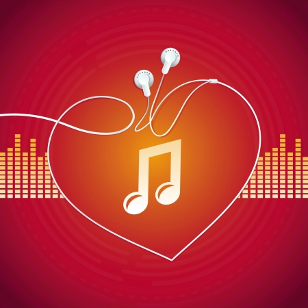 earbud: Concepto de la m�sica - resumen de antecedentes con los auriculares icono