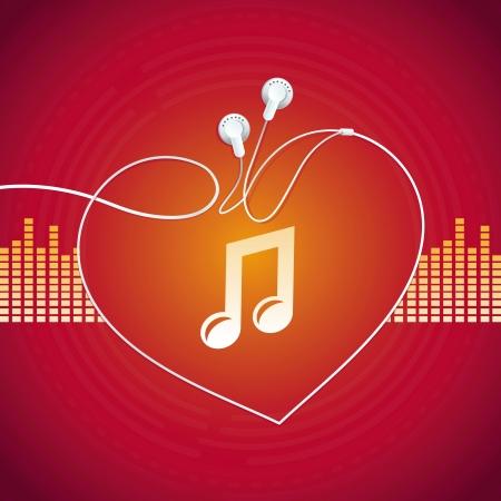 Koncepcja Music - streszczenie tle z ikoną słuchawek