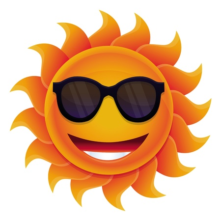 Cartoon sun - with circle face and hipster sunglasses Stock Vector - 20331758