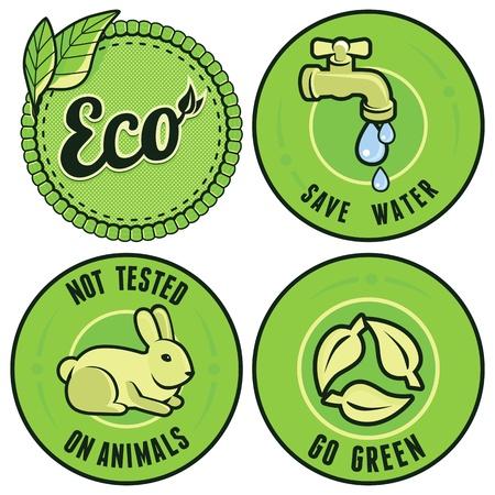 waterbesparing: Set met ecologie labels cirkel - niet getest op dieren, ga groen, sparen water Stock Illustratie
