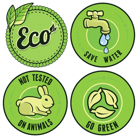 eye exam: Set with circle ecology labels - not tested on animals, go green, save water