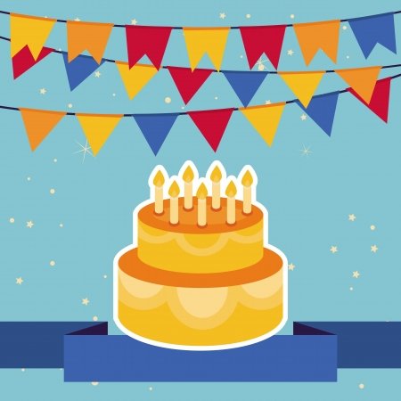 birthday cakes: Holiday background with bright flags and birthday cake -frame for greeting card Illustration