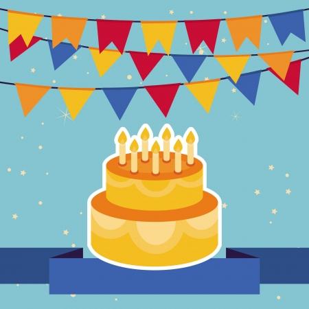 Holiday-Hintergrund mit hellen Fahnen und Geburtstagskuchen-Rahmen für Grußkarte Standard-Bild - 20331756