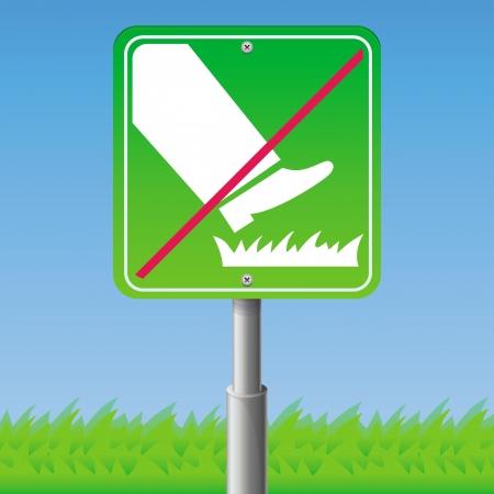 grass plot: Do not step on grass - green sign