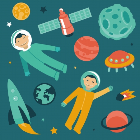 saturn: set with space and planets icons - astronaut in space