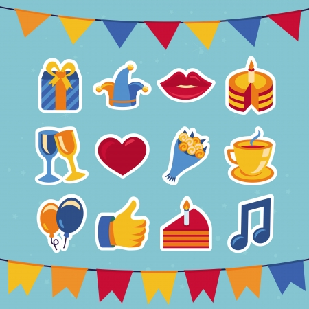 birthday and party icons and signs - collection in retro flat style Vector