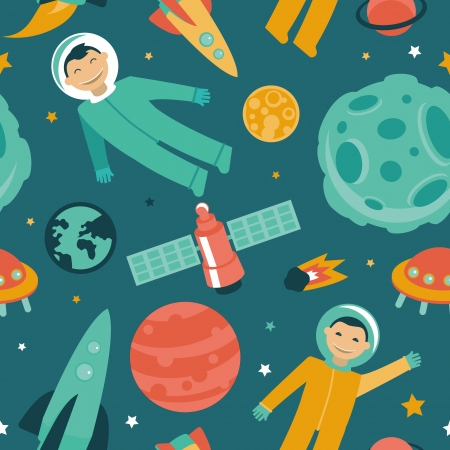 seamless pattern with space and planets - astronaut in space Vector