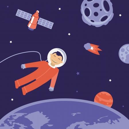 planetoid: cartoon astronaut in space - illustration in flat style Illustration