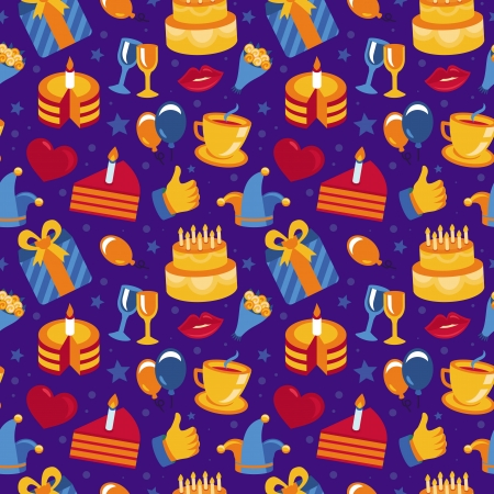 seamless pattern with party icons and signs - happy birthday greeting card Vector