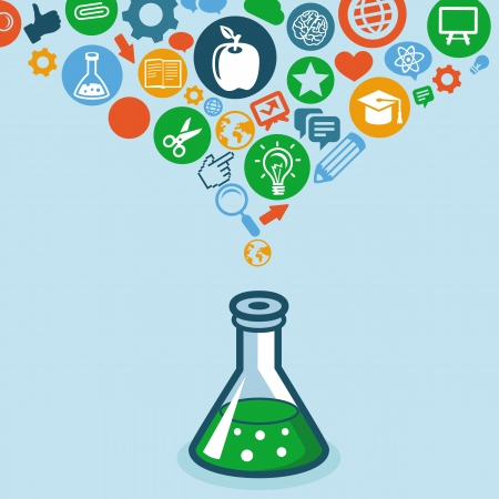 education and science concept -  icons and signs Vector
