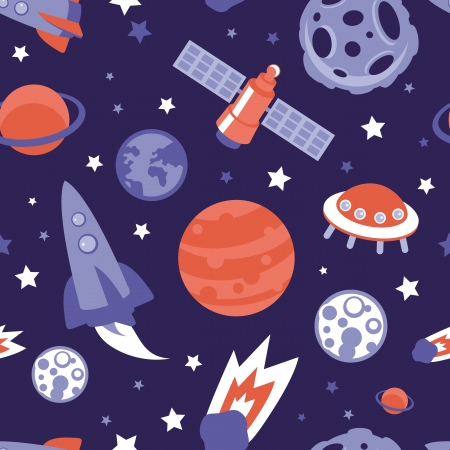 space: seamless pattern with planets, ships and stars - background in vintage flat style