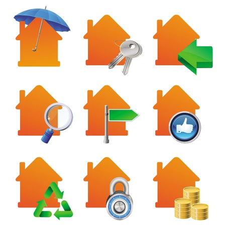 protect home: Vector real estate cocnept - bright house icons with signs - for sale, for rent, searching, keys, insurance, mortgage Illustration