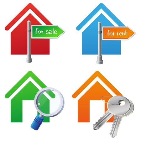 cocnept: Vector real estate cocnept - bright house icons with signs - for sale, for rent, searching, keys Illustration