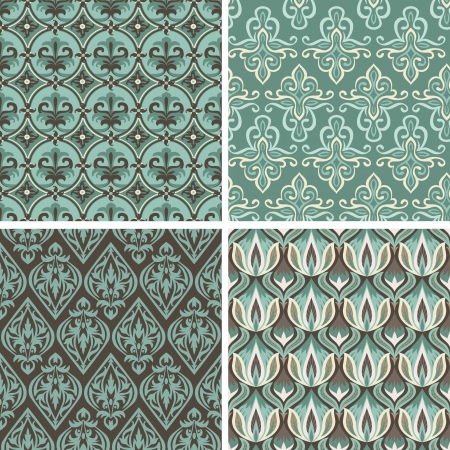 Vector set with vintage seamless patterns -  abstract background in flat retro style Stock Vector - 20472366