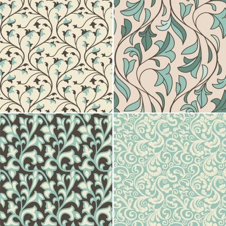 アクアマリン: 平らなレトロなスタイルで抽象的な背景 - ヴィンテージのシームレスなパターンで設定ベクトル