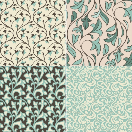 textiles: Vector set with vintage seamless patterns -  abstract background in flat retro style