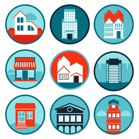 Vector set with real estate logos and emblems - bright icons with houses Vector