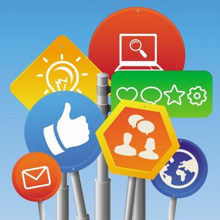 social media marketing: Internet vector concepto de marketing - brillante canta con iconos de redes sociales y le gusta Vectores
