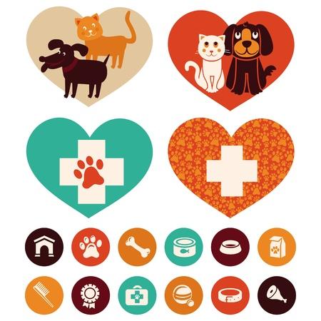 Vector veterinarios emblemas y signos - gato y perro iconos de dibujos animados Ilustración de vector