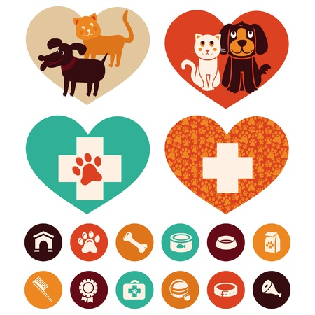 Vector veterinaire emblemen en tekens - kat en hond cartoon pictogrammen