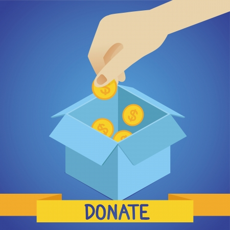 aiding: Vector donate concept - hand putting coins in the box Illustration