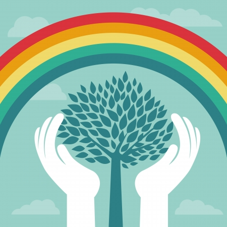 hands holding plant: Vector creative concept with rainbow and human hands - abstract growth concept Illustration