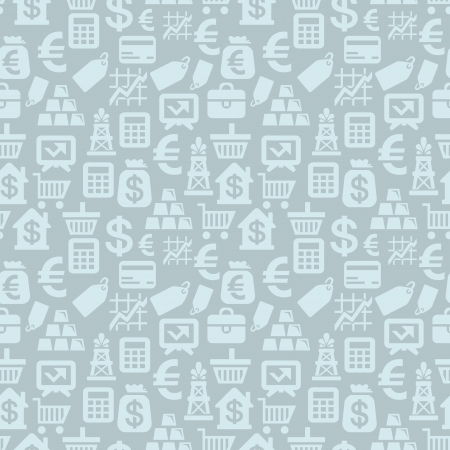 Vector seamless pattern with finance icons and signs - money background Vector