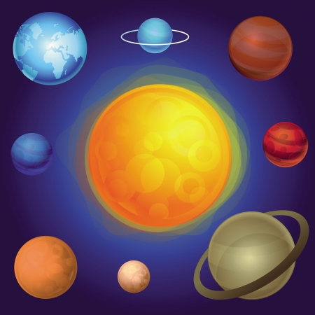 Vector solar  system concept - abstract icons Illustration