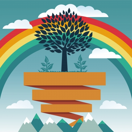 Vector creative concept with rainbow and tree Vector