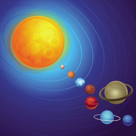 Vector solar  system concept - abstract icons Vector