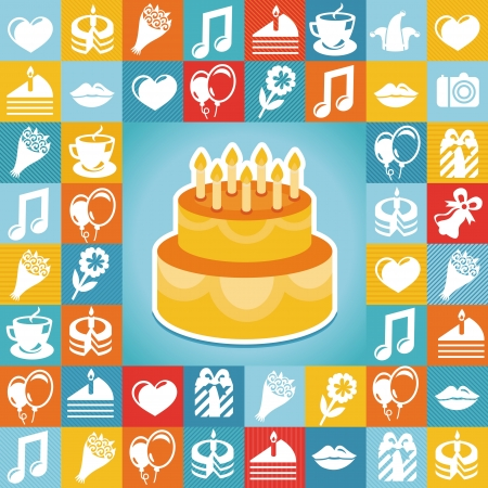 birthday hat: Vector birthday and party icons and signs - collection in retro flat style