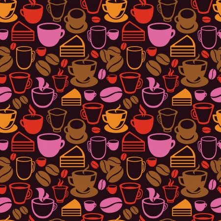 teatime: Vector seamless pattern with tea and coffee cups - background in vintage style Illustration