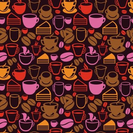 vintage: Vintage stili arka plan - çay ve kahve fincanları ile vektör sorunsuz desen Çizim