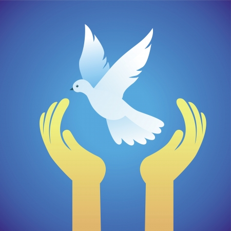 Vector dove and human hands - peace symbol - abstract concept Stock Vector - 20472351