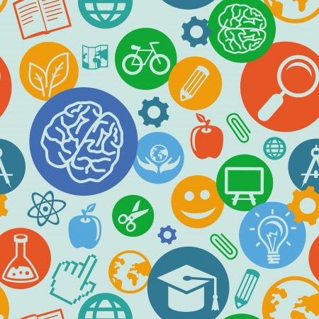 oktatás: Vector zökkenőmentes minta az oktatás és a tudomány, ikonok - absztrakt háttér lapos stílus Illusztráció