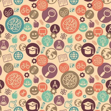 elearning: Vector seamless pattern with education and science icons - abstract background in flat style