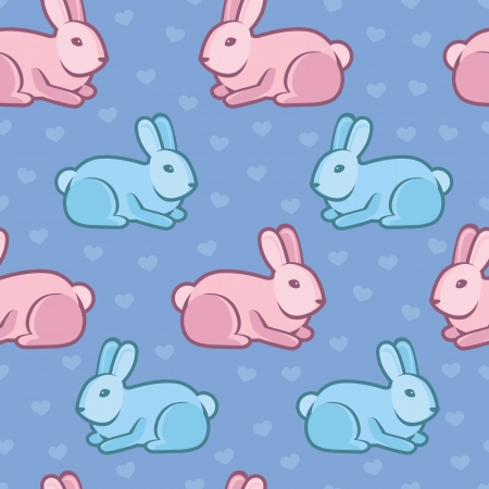 Vector seamless pattern with rabbits and hearts - abstract background Vector