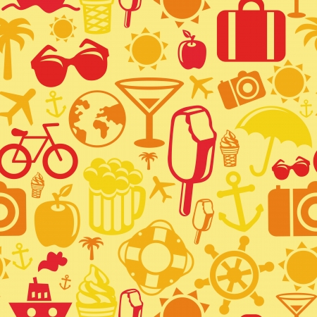 seamless pattern with summer icons - vacation signs and symbols Vector